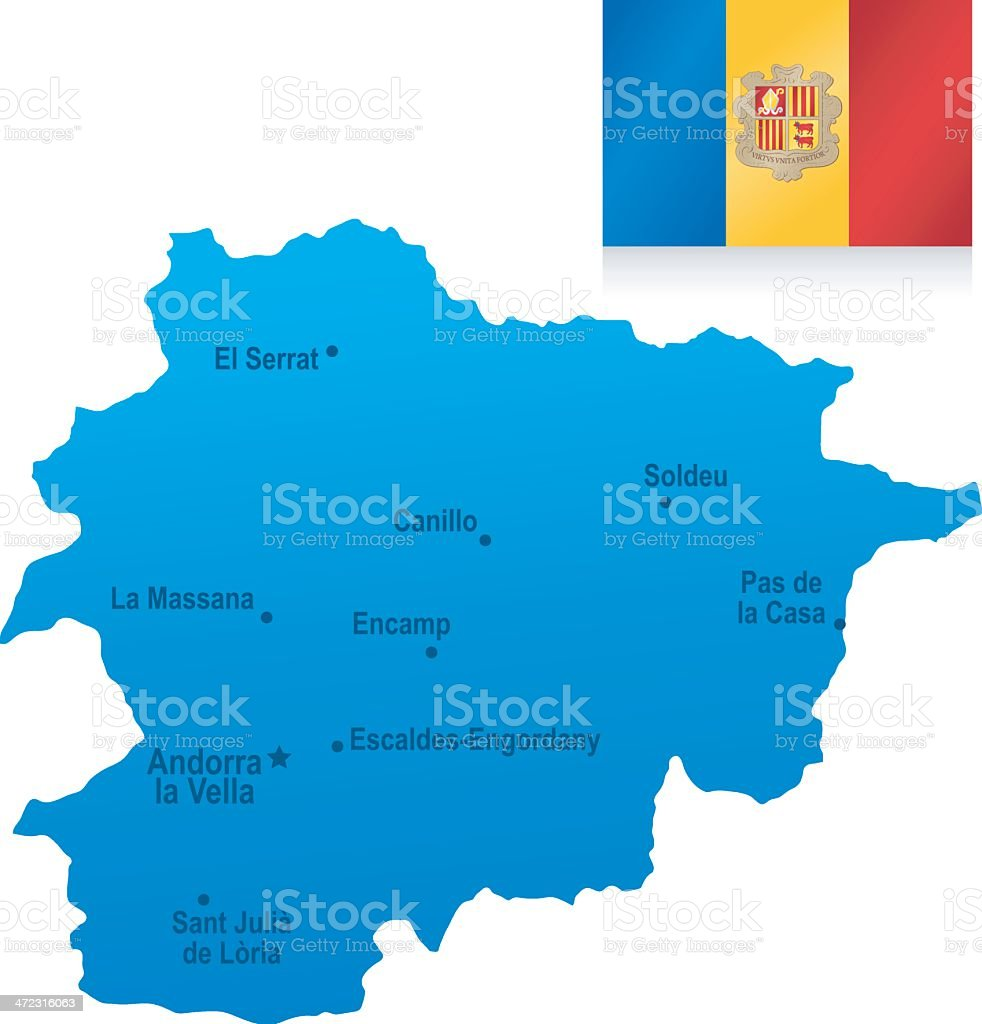 Map of Andorra - states, cities and flag royalty-free stock vector art