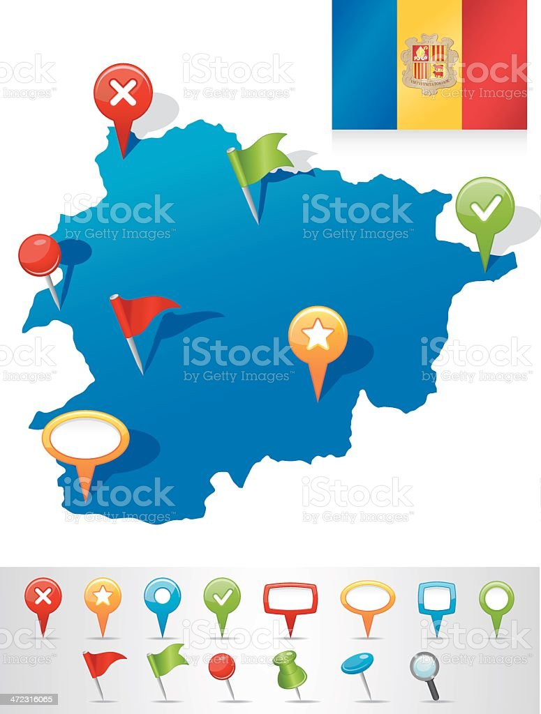 Map of Andorra with navigation icons royalty-free stock vector art