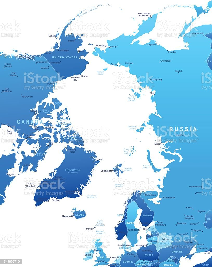 Map of Arctic Region - states and cities vector art illustration