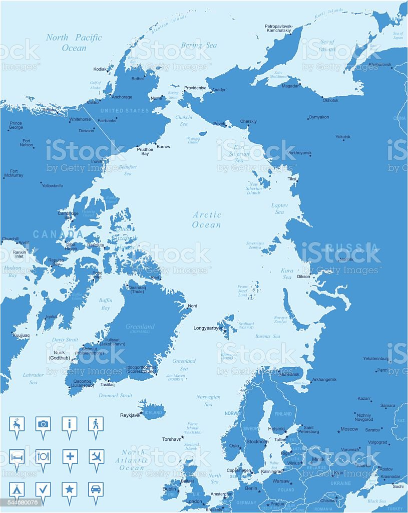 Map of Arctic Region - states, cities, navigation icons vector art illustration