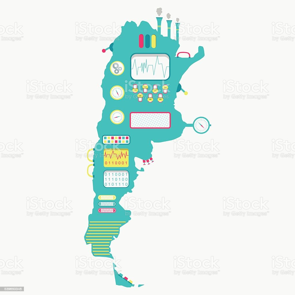 Map of Argentina machine vector art illustration