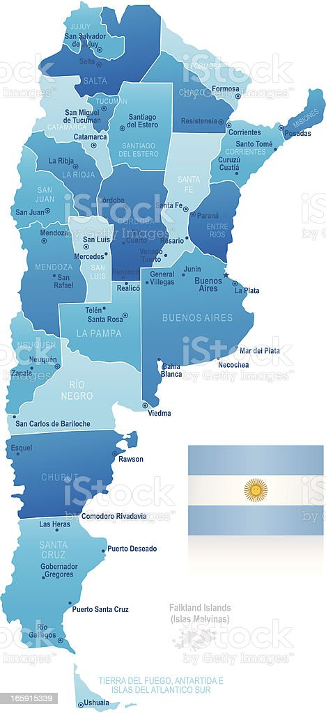 Map of Argentina - states, cities and flag vector art illustration