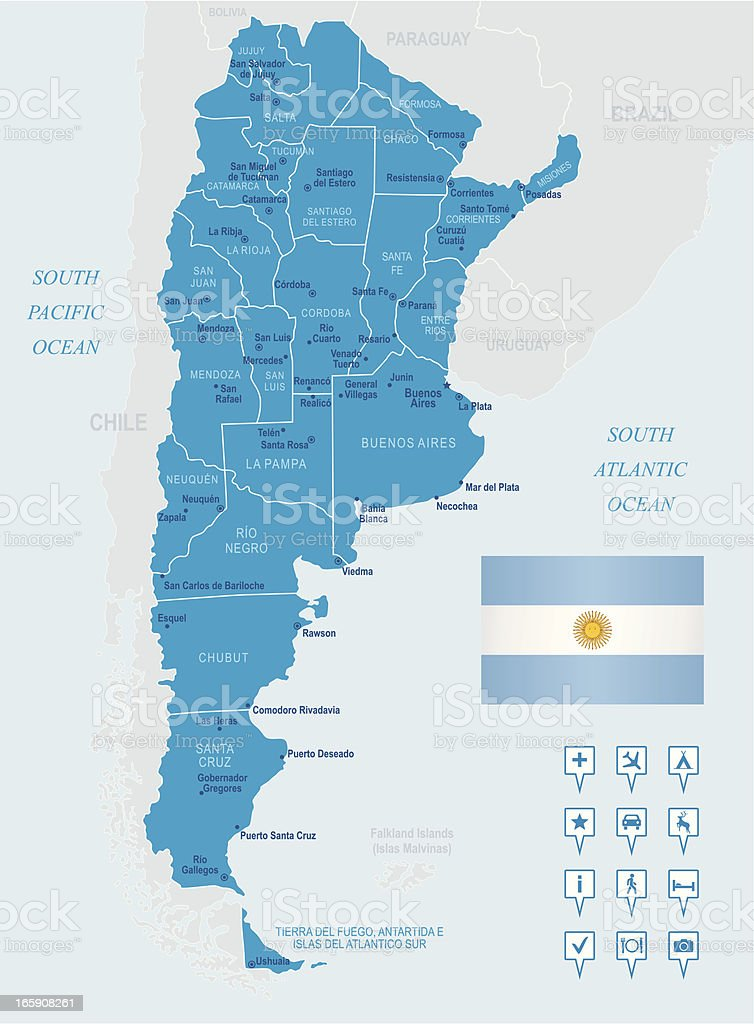 Map of Argentina - states, cities, flag and navigation icons royalty-free stock vector art