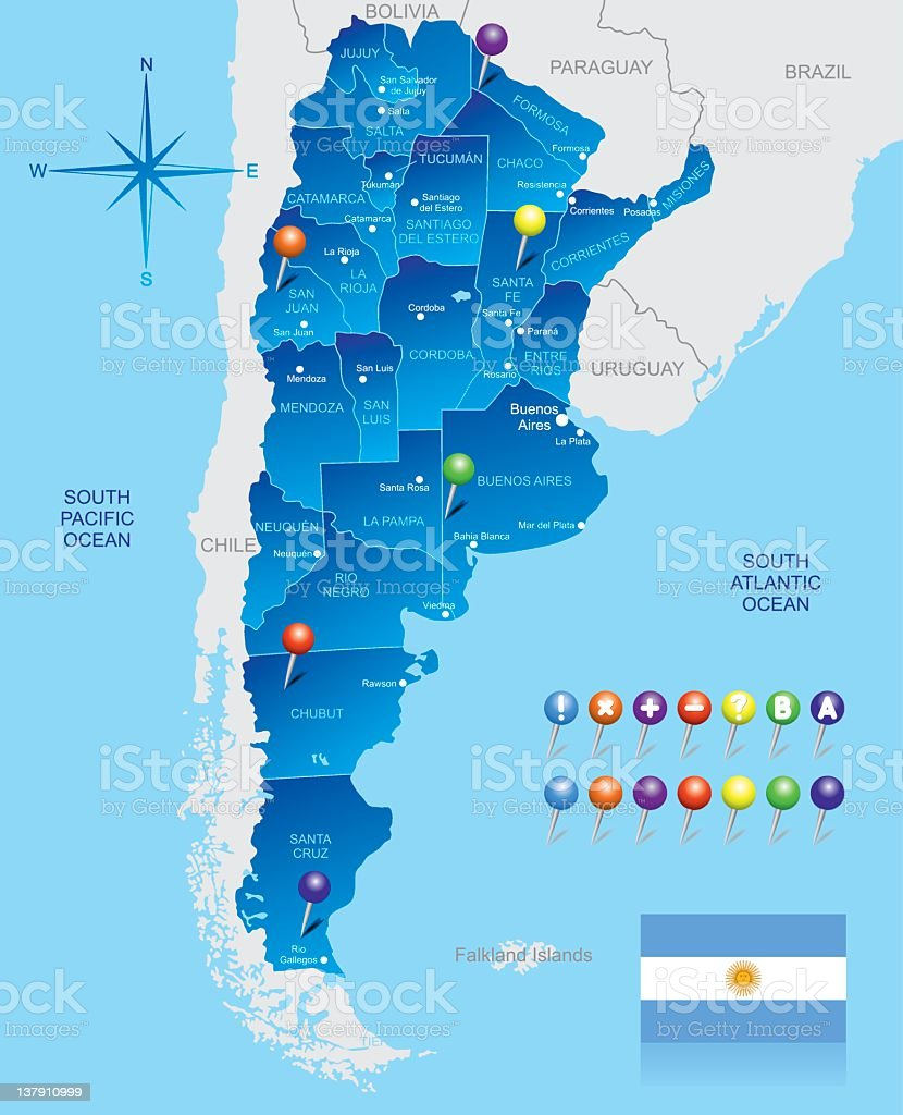 Map of Argentina royalty-free stock vector art