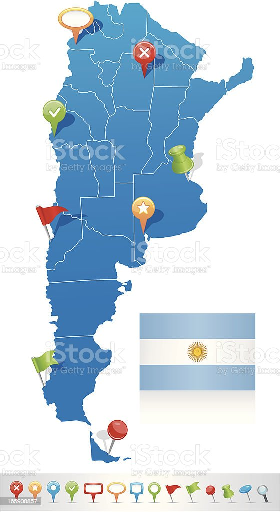 Map of Argentina with navigation icons vector art illustration