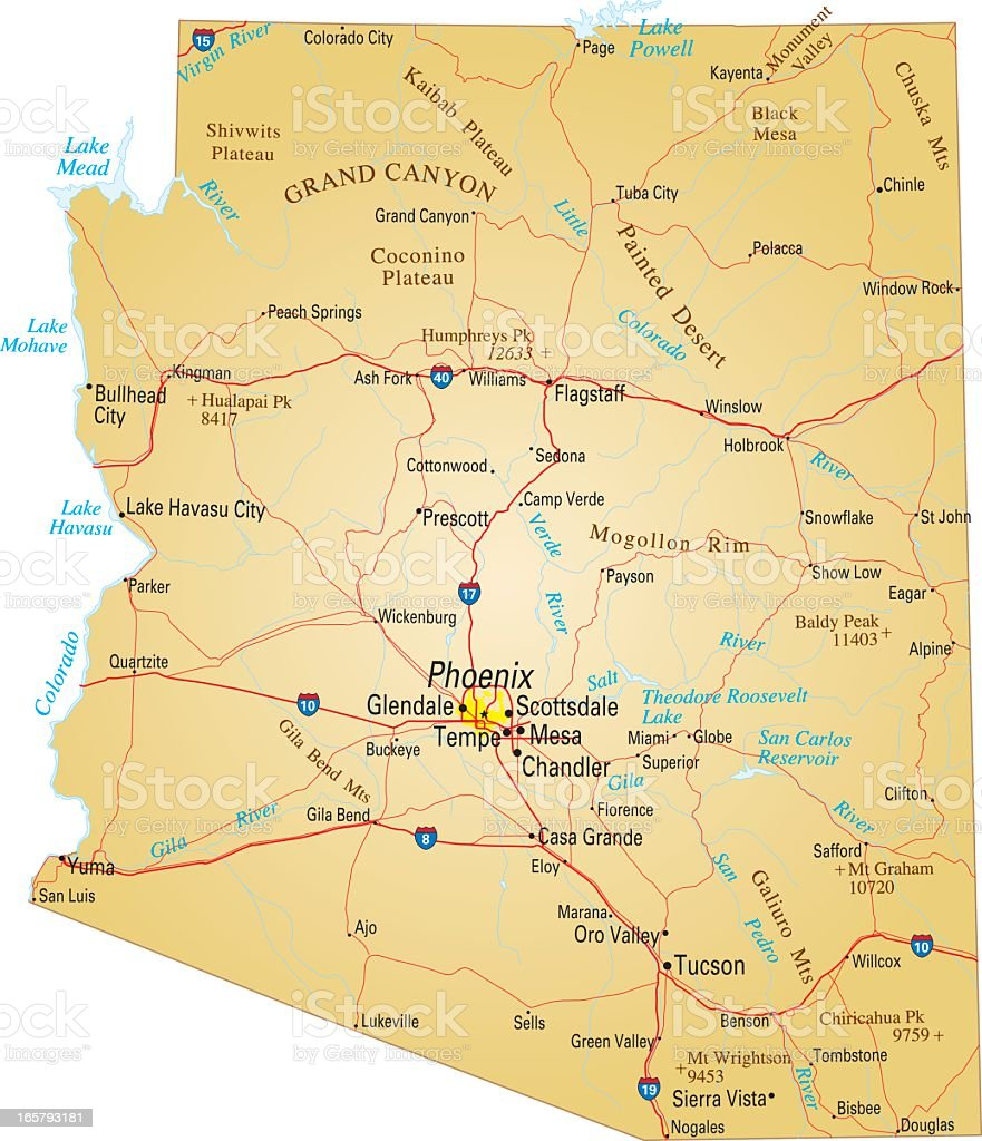 Map of Arizona, USA highways, major roads, and rivers vector art illustration