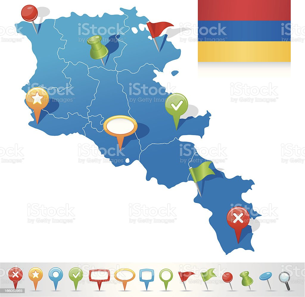 Map of Armenia with navigation icons royalty-free stock vector art