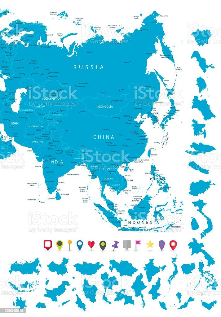 Map of Asia with it's states and flat map pointers vector art illustration