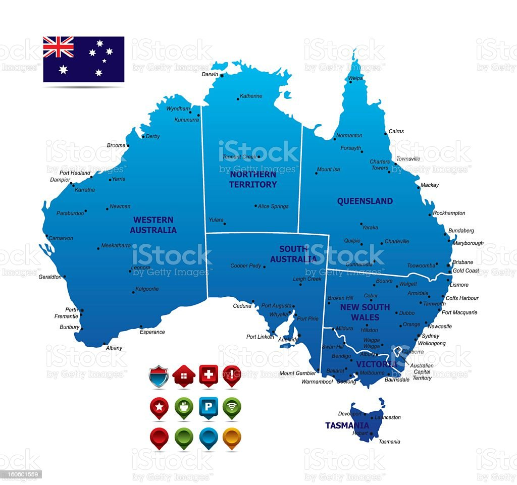 Map of Australia showing states and major cities vector art illustration