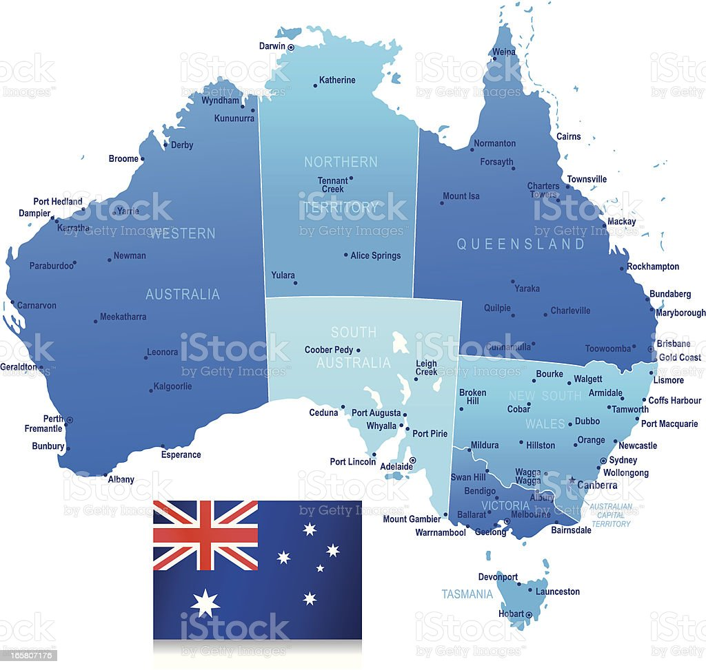 Map of Australia - states, cities and flag royalty-free stock vector art