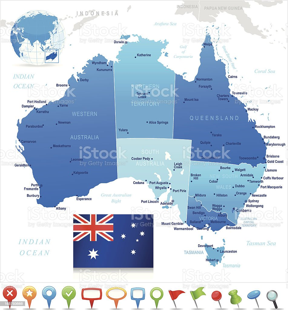 Map of Australia - states, cities, flag and navigation icons vector art illustration