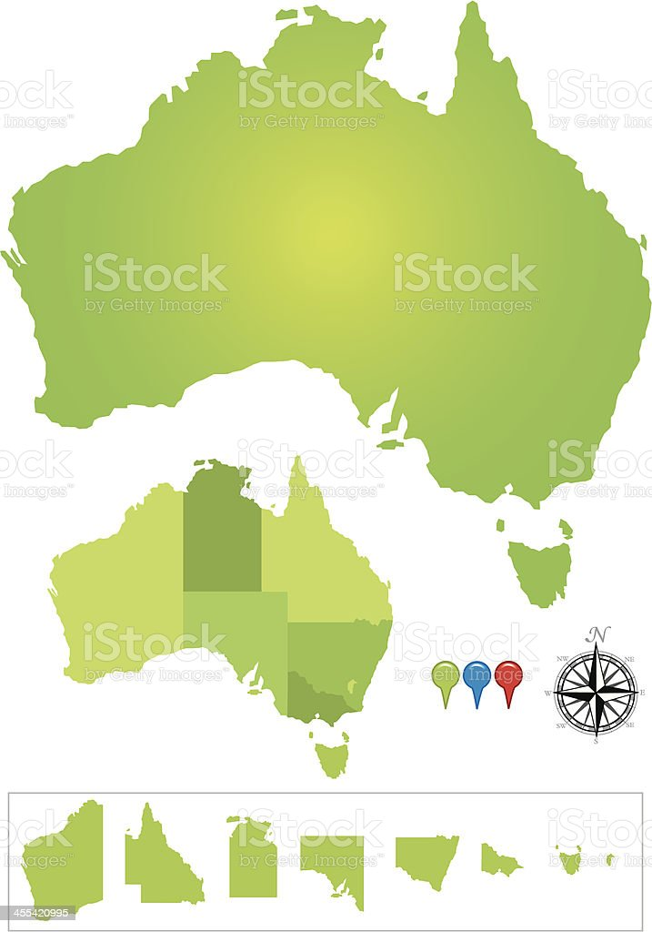 Map of Australia with Compass vector art illustration