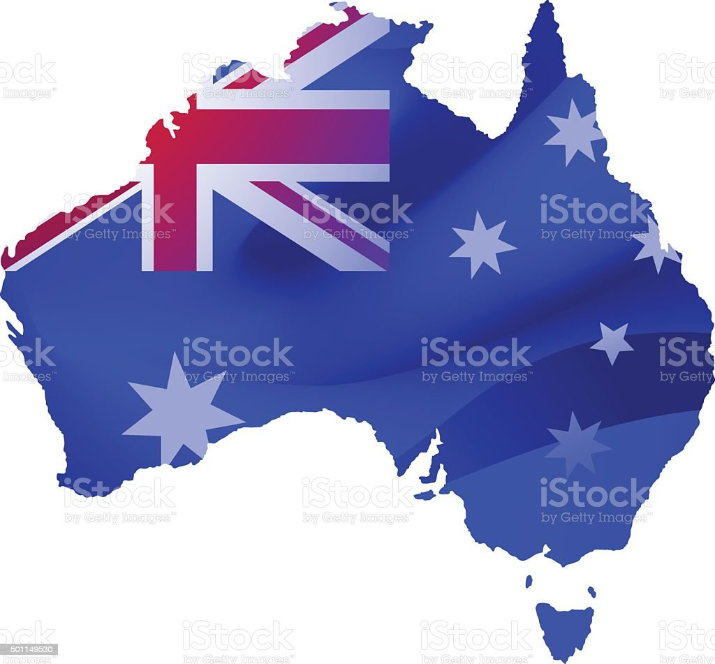 Map of Australia with locations on a blue background vector art illustration