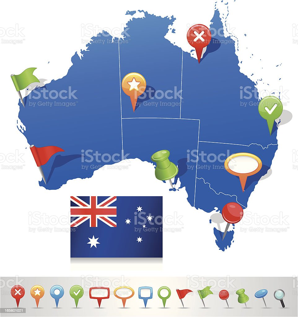 Map of Australia with navigation icons vector art illustration