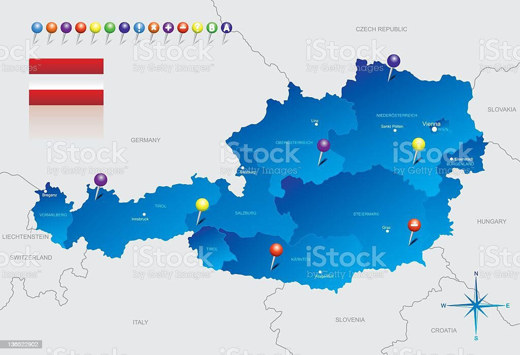 Map of Austria with seven pins marking different regions vector art illustration