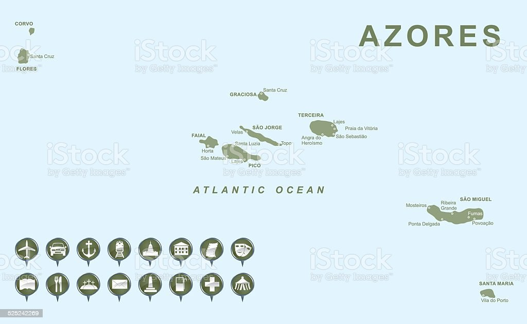 Map of Azores vector art illustration