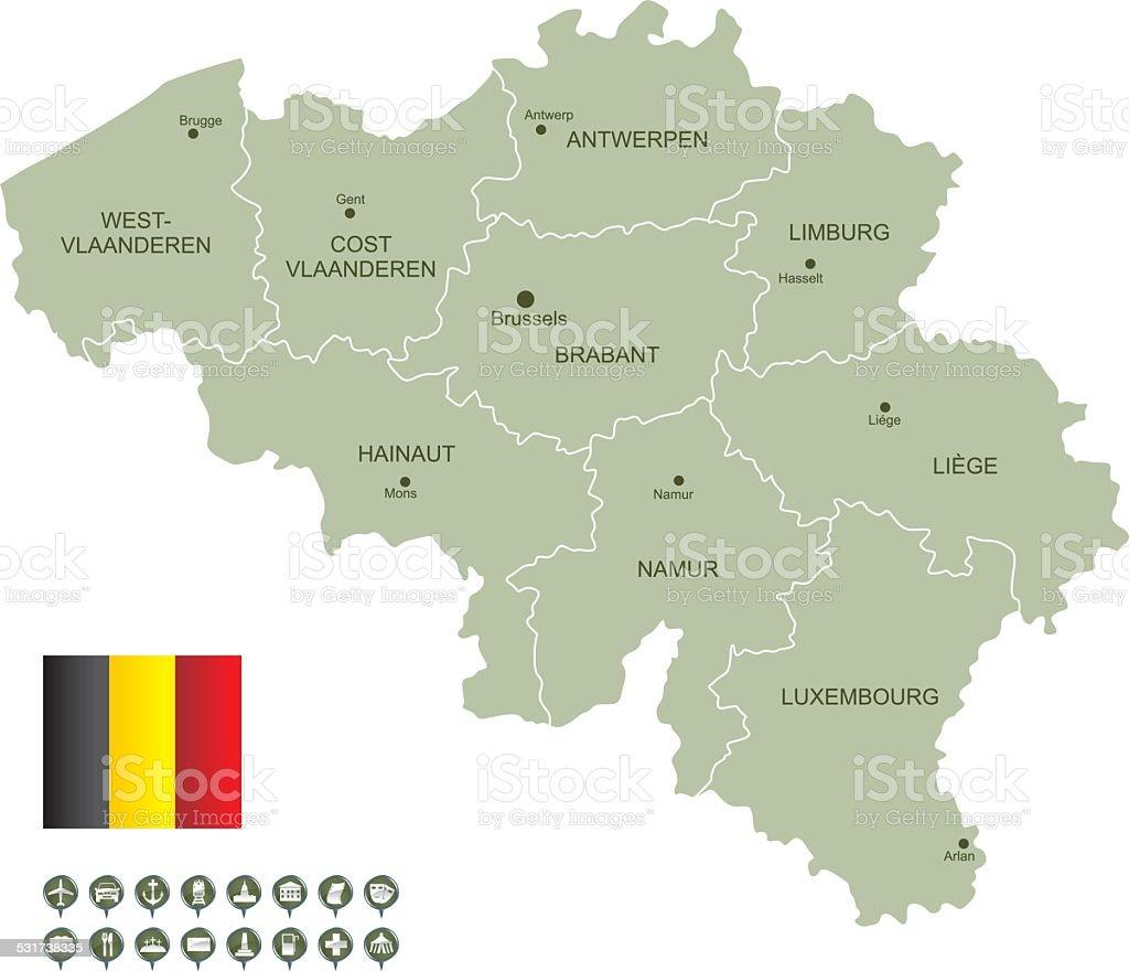 Map of Belgium vector art illustration