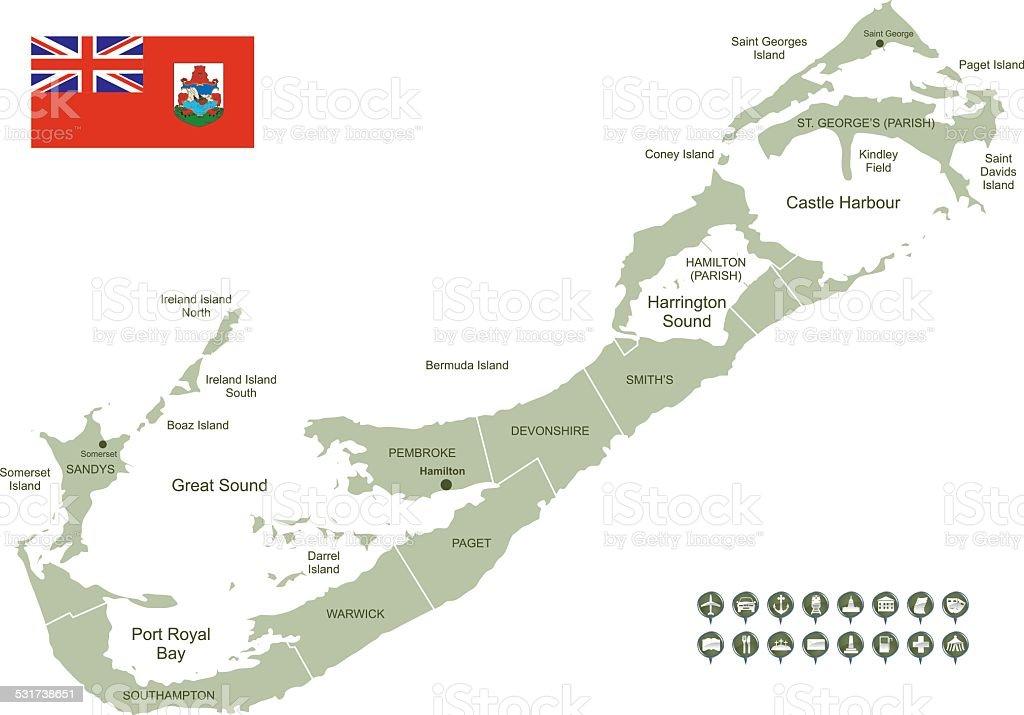 Map of Bermuda vector art illustration