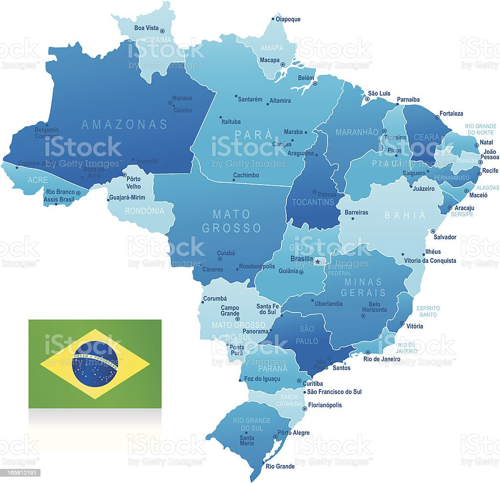 Map of Brazil - states, cities and flag royalty-free stock vector art
