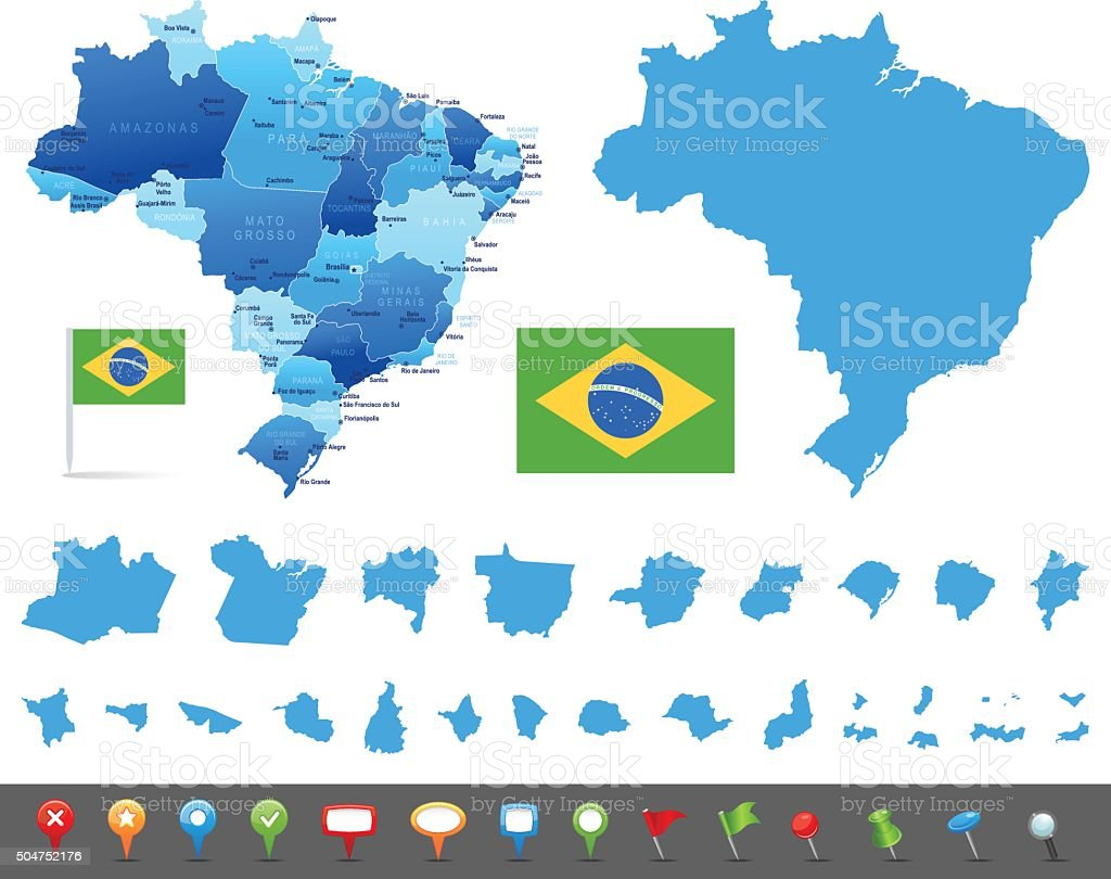 Map of Brazil - states, cities and navigation icons vector art illustration