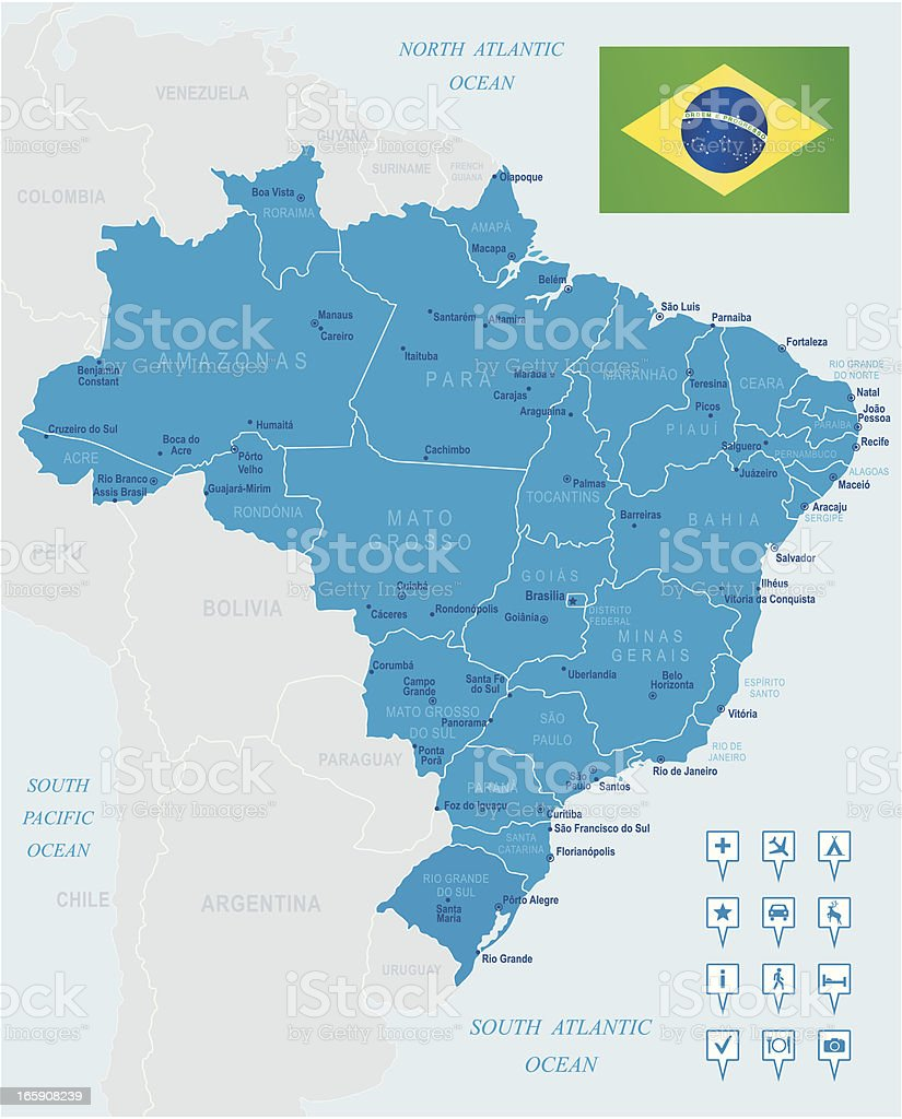 Map of Brazil - states, cities, flag and navigation icons royalty-free stock vector art