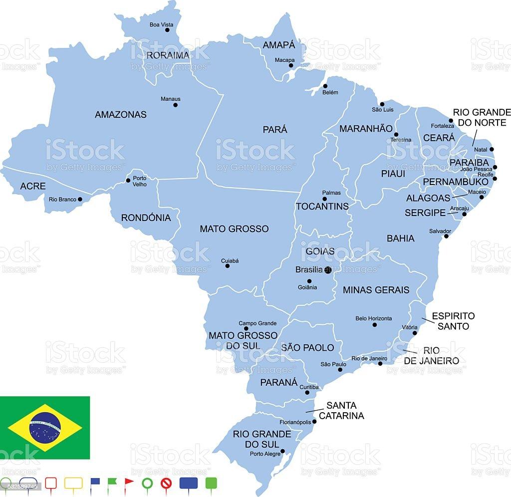 Map of Brazil vector art illustration