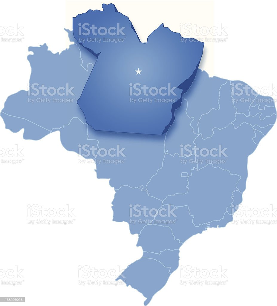 Map of Brazil where Para is pulled out vector art illustration