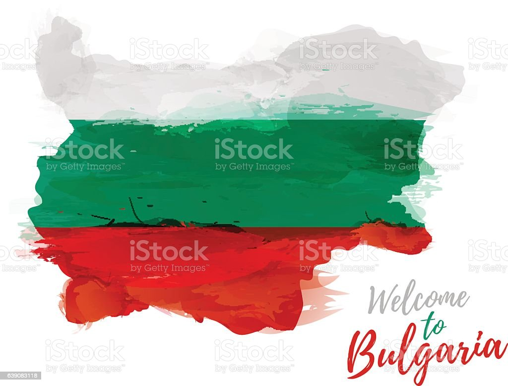 Map of Bulgaria with the decoration of the national flag. vector art illustration
