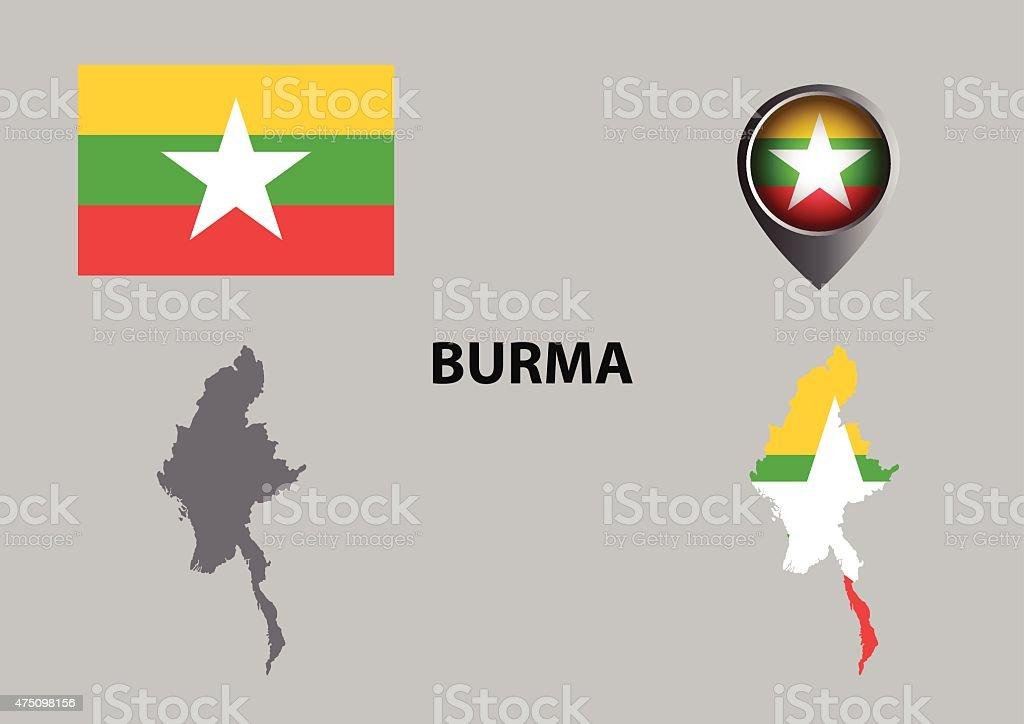 Map of Burma and symbol vector art illustration