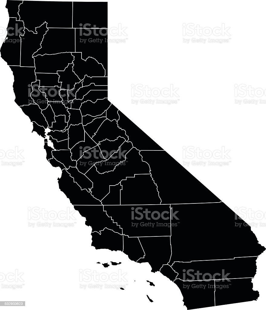 Map of California State vector art illustration