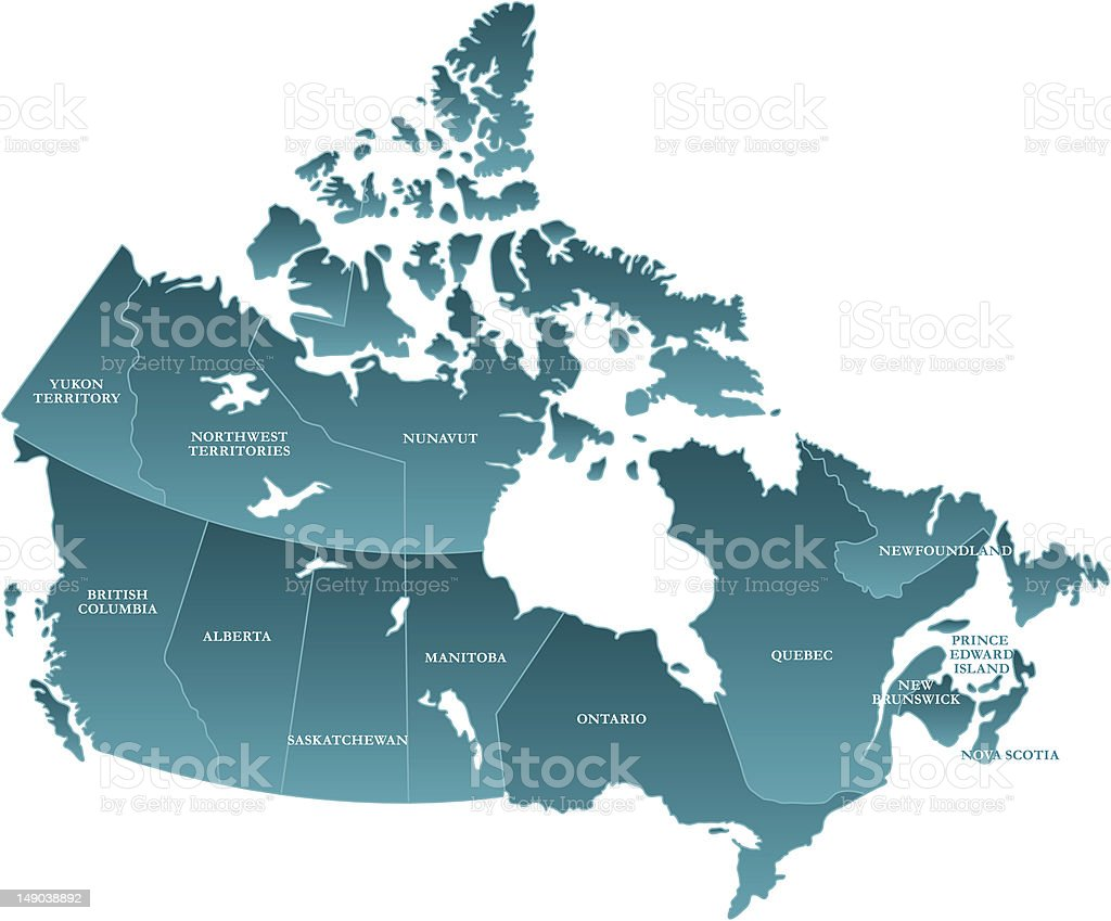 Map of Canada: Labelled royalty-free stock vector art