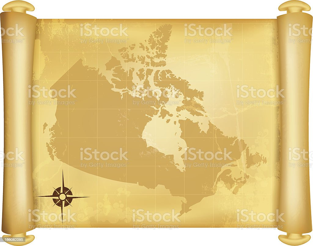 Map of Canada on grungy paper scroll royalty-free stock vector art