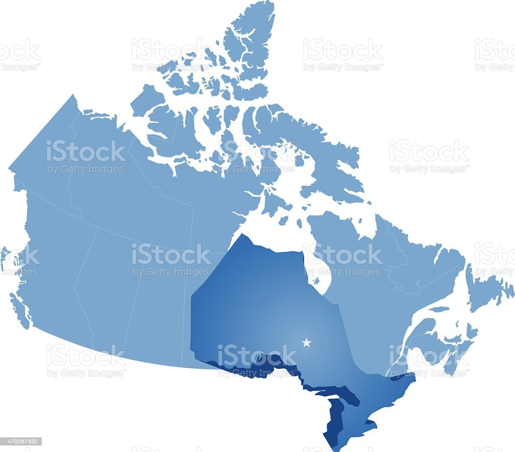 Map of Canada - Ontario province vector art illustration