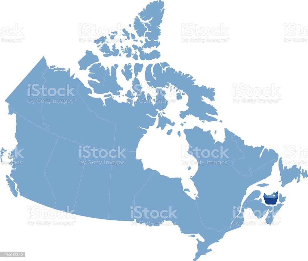 Map of Canada - Prince Edward Island province vector art illustration