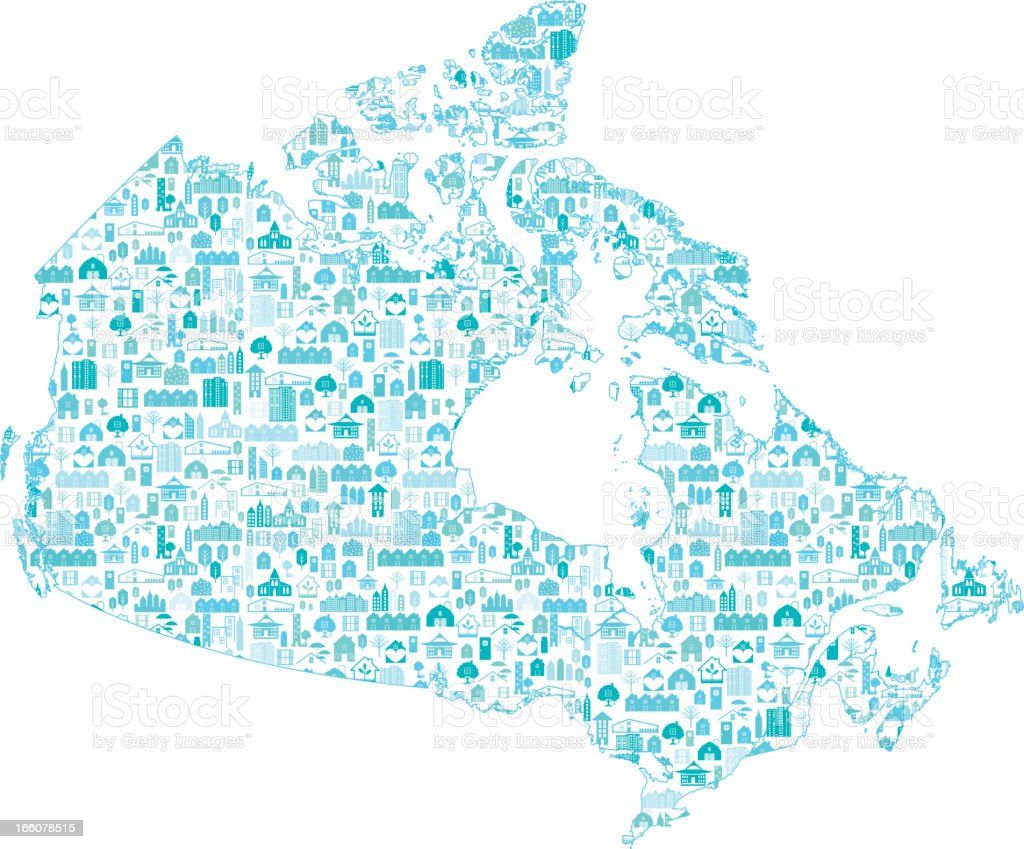 Map Of Canada, Real Estate Concept vector art illustration