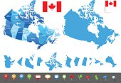 Map of Canada - states, cities and navigation icons