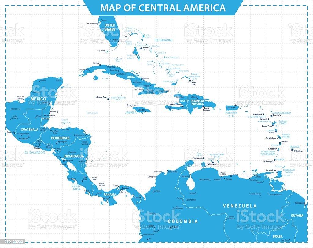 Map of Central America - illustration vector art illustration
