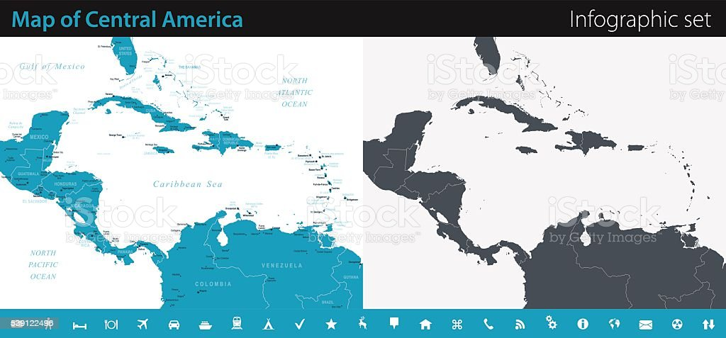 Map of Central America - Infographic Set vector art illustration