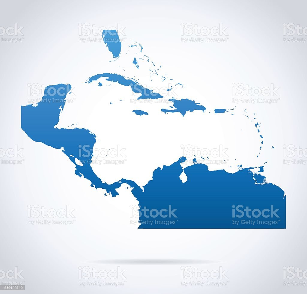 Map of Central America vector art illustration