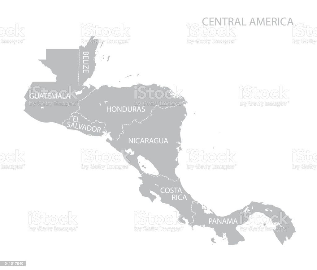 Map of Central America vector art illustration