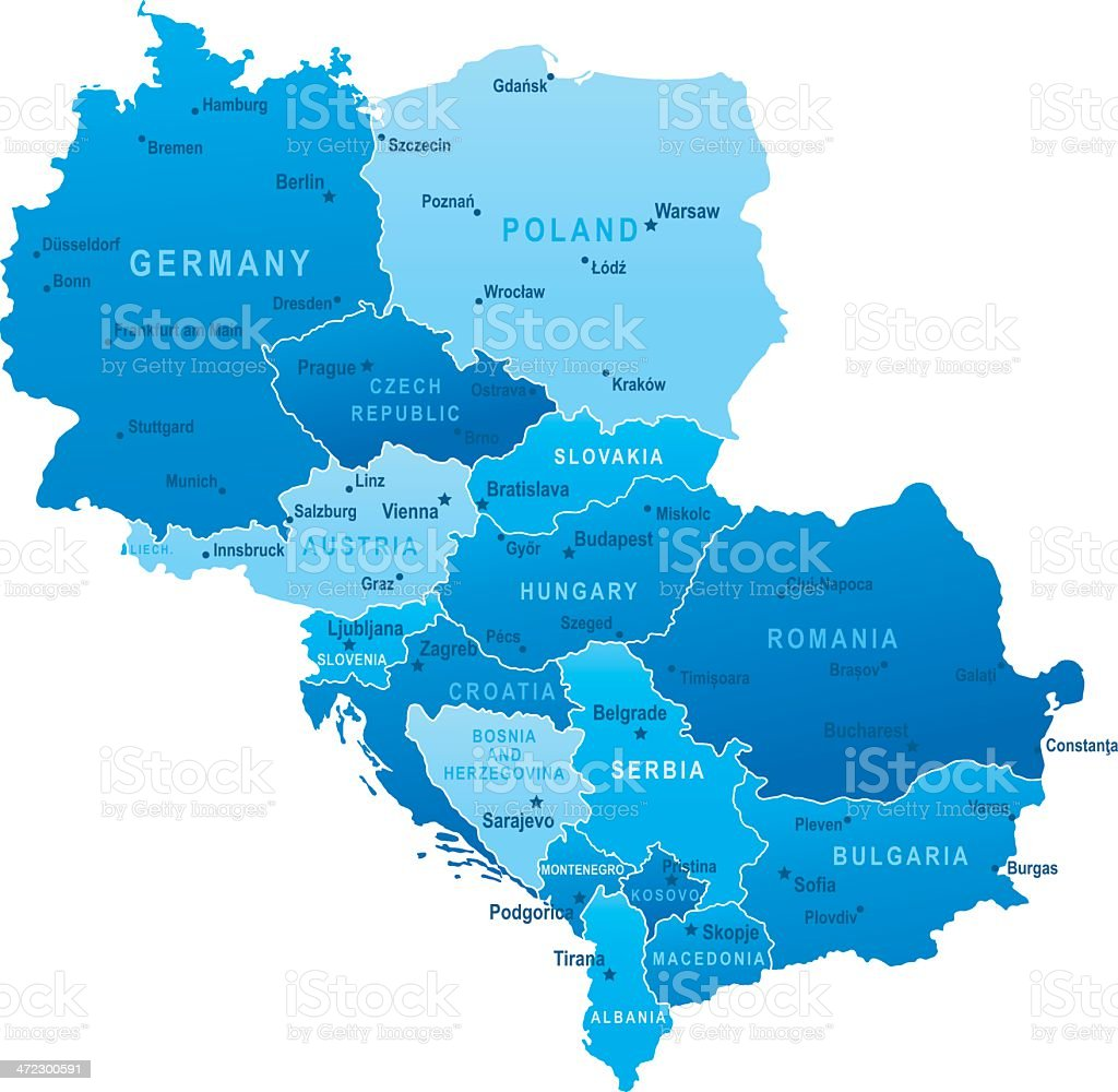 Map of Central Europe - states and cities vector art illustration