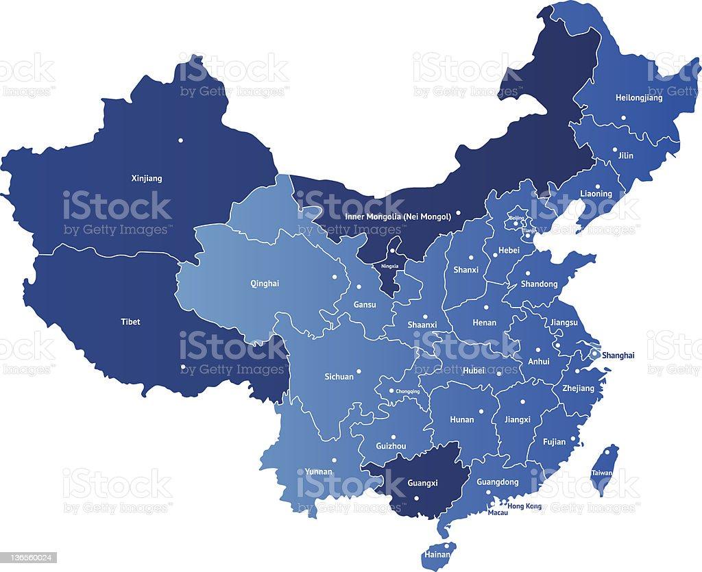 Map of China royalty-free stock vector art