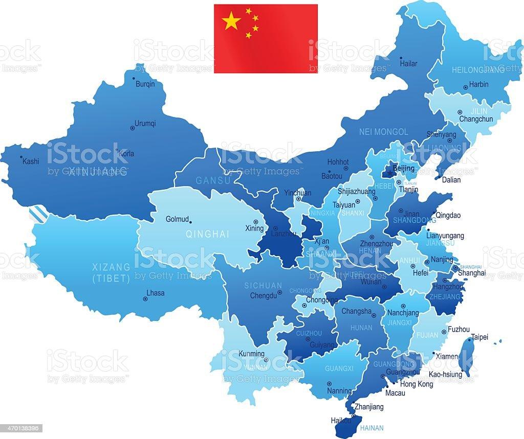 Map of China vector art illustration