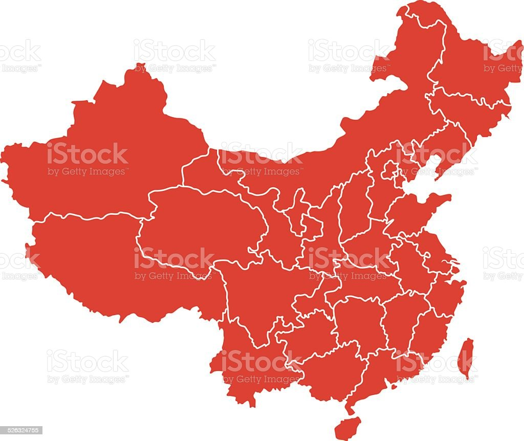 Map of China vector art illustration