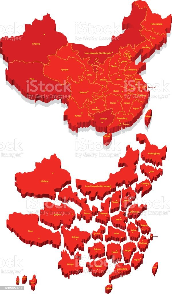 Map of China with Provinces stock photo