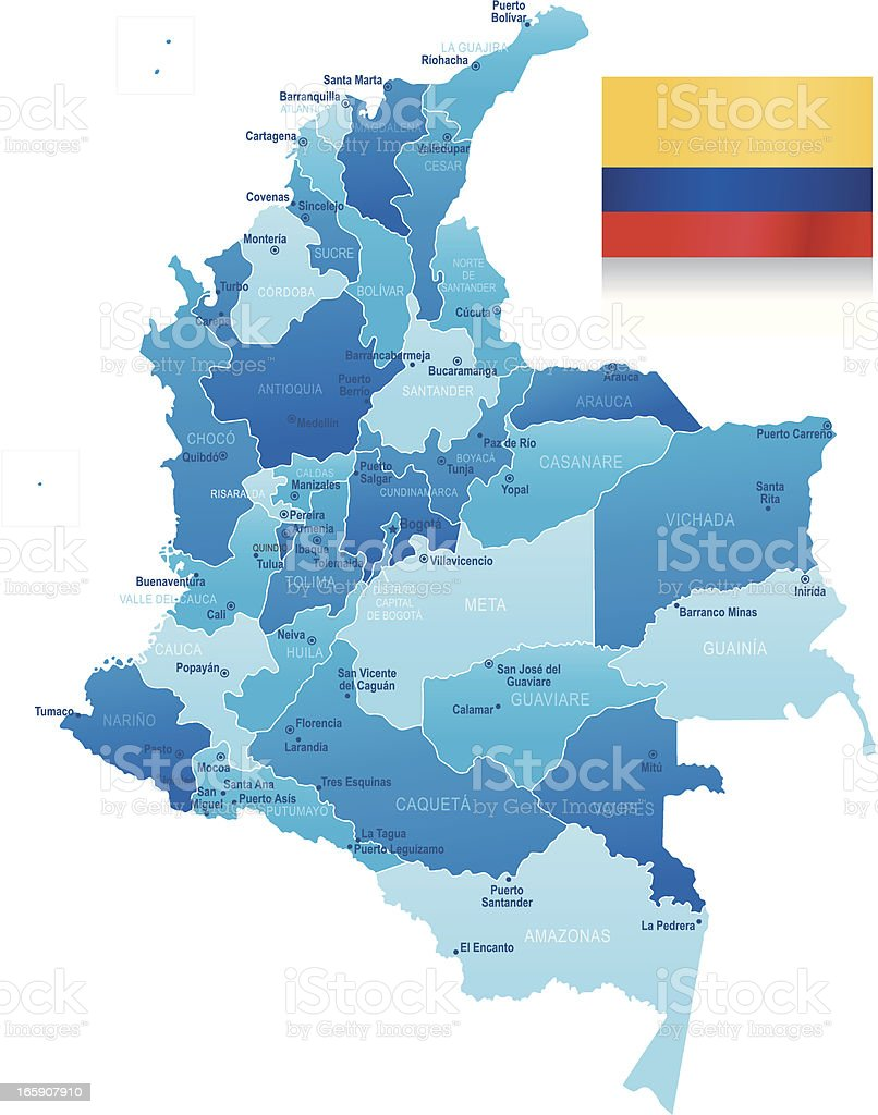 Map of Colombia - states, cities and flag vector art illustration