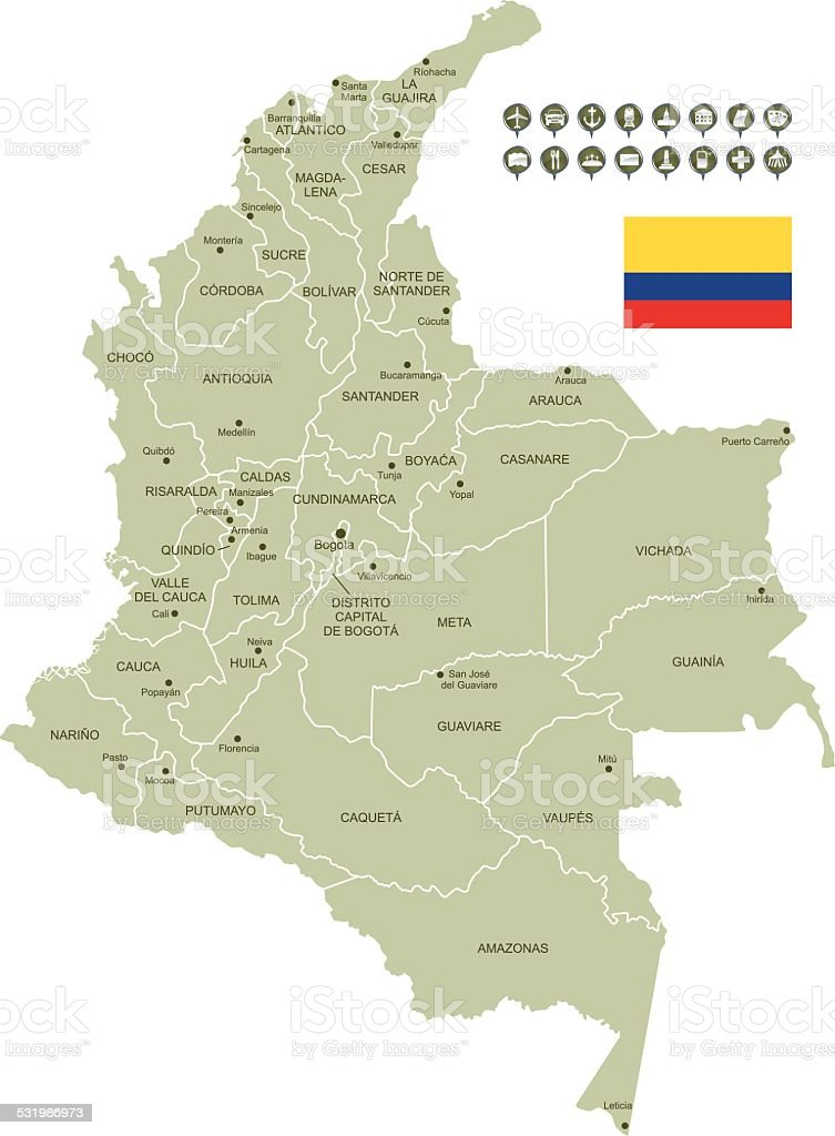 Map of Colombia vector art illustration