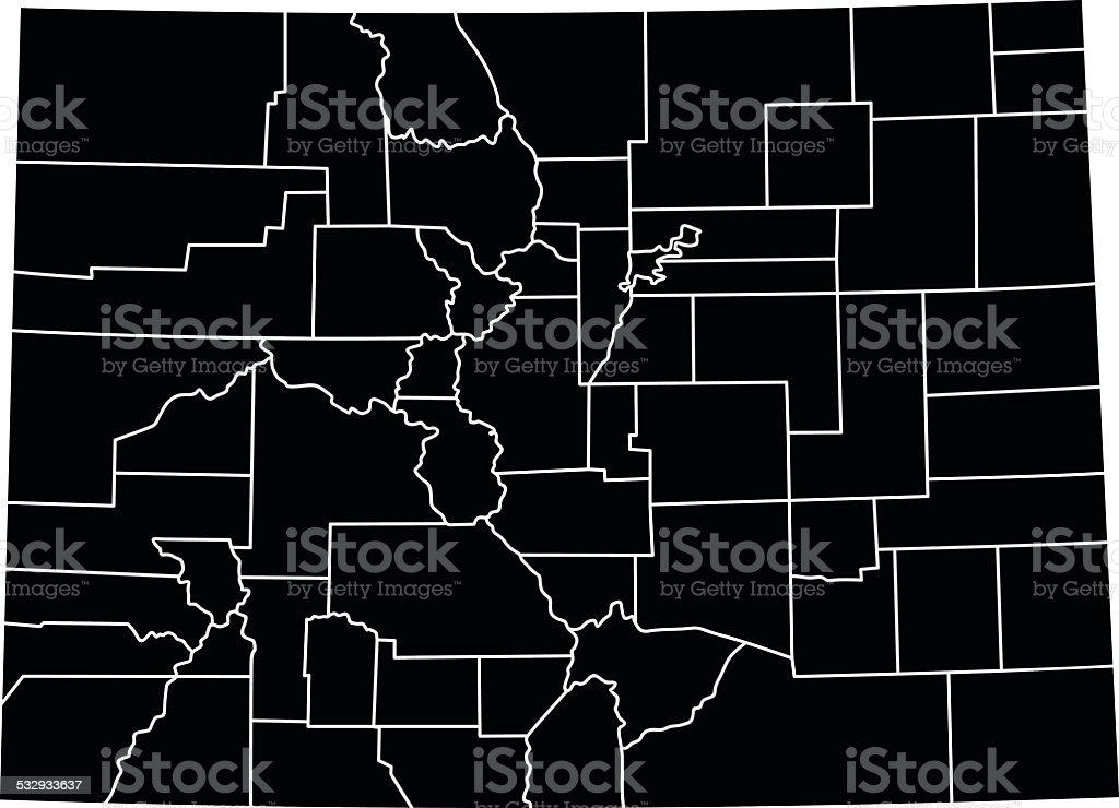 Map of Colorado vector art illustration