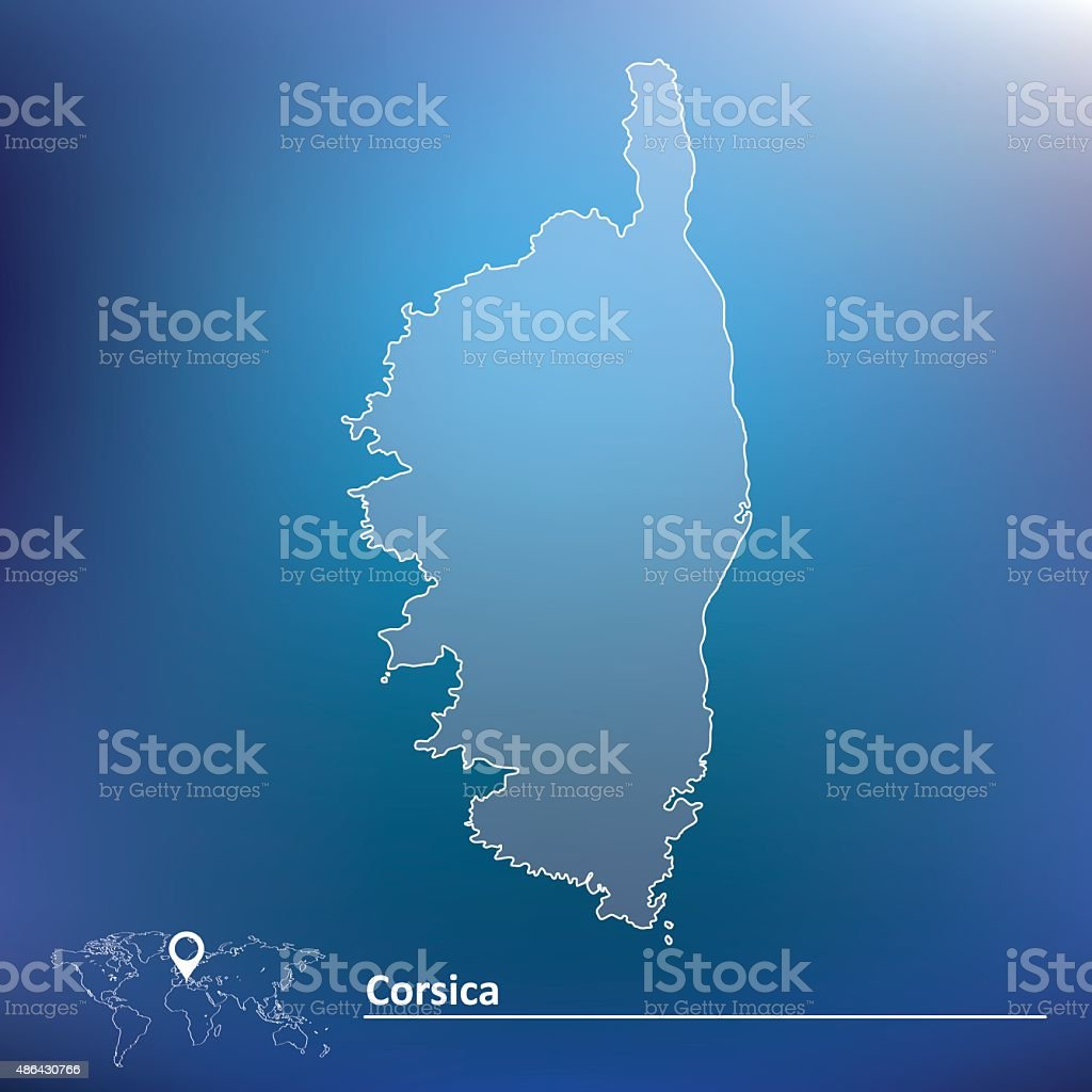 Map of Corsica vector art illustration