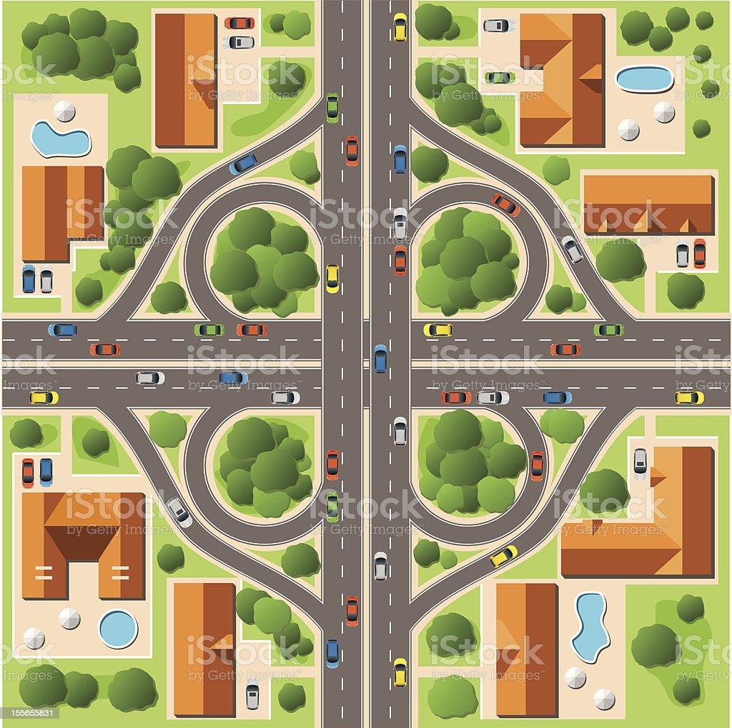 Map of Cottage Village vector art illustration